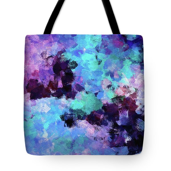 Tote Bag featuring the painting Purple And Blue Abstract Art by Ayse Deniz