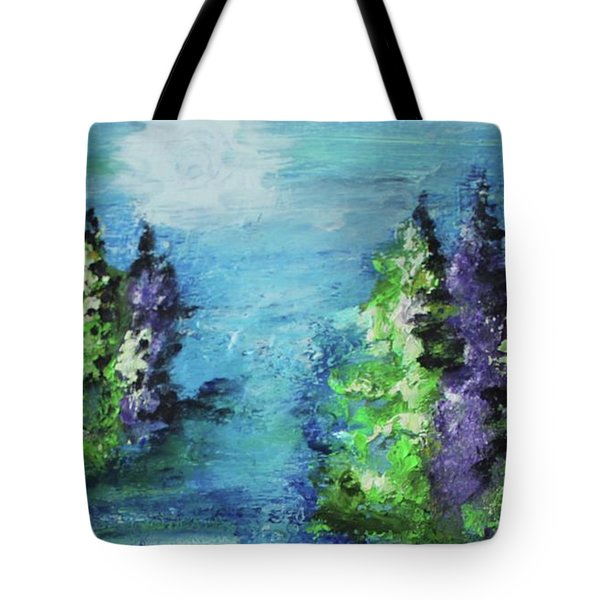 Tote Bag featuring the painting Purple And Green by Kim Nelson