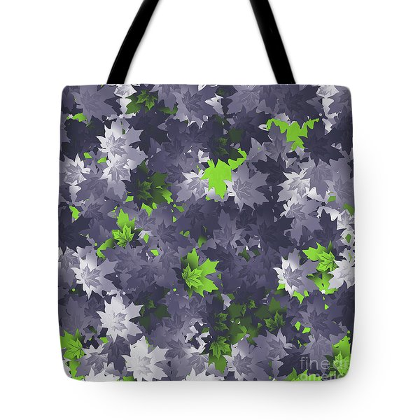 Purple And Green Leaves Tote Bag by Methune Hively