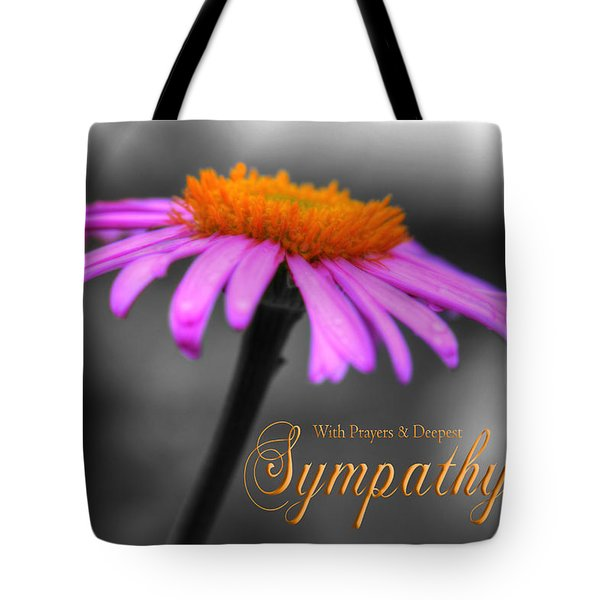 Tote Bag featuring the photograph Purple And Orange Coneflower With Sympathy by Shelley Neff