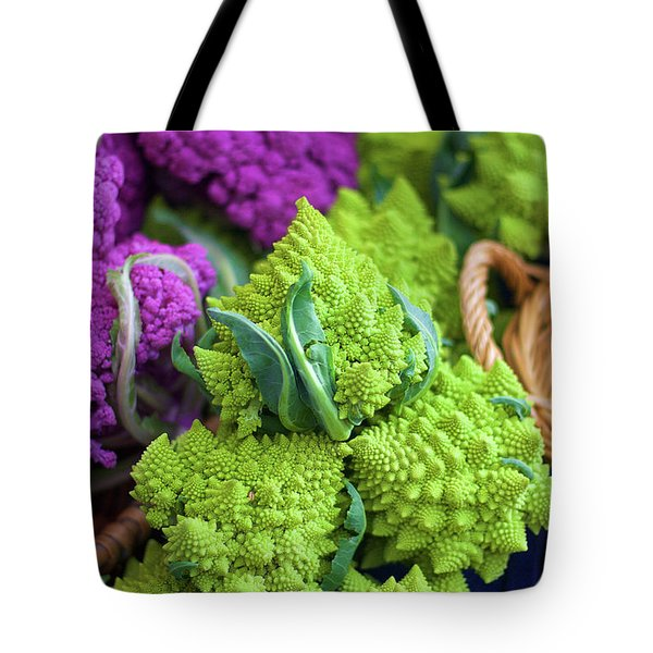 Purple And Romanesco Cauliflower Tote Bag