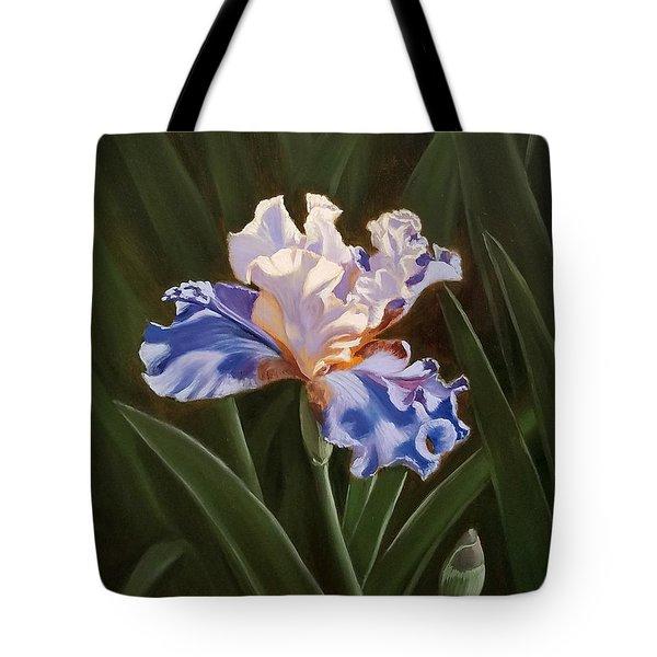 Purple And White Iris Tote Bag