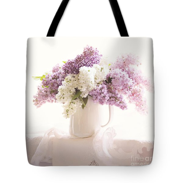 Tote Bag featuring the photograph Purple And White Lilacs Still Life by Sylvia Cook