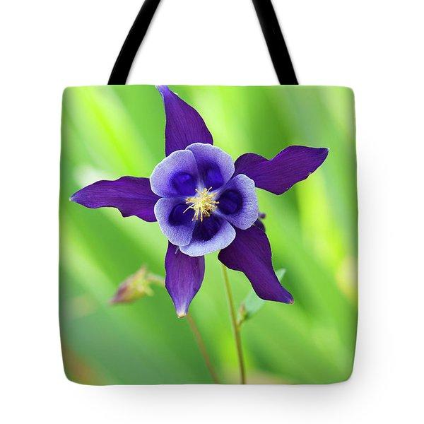 Purple Aquilegia Flower Tote Bag