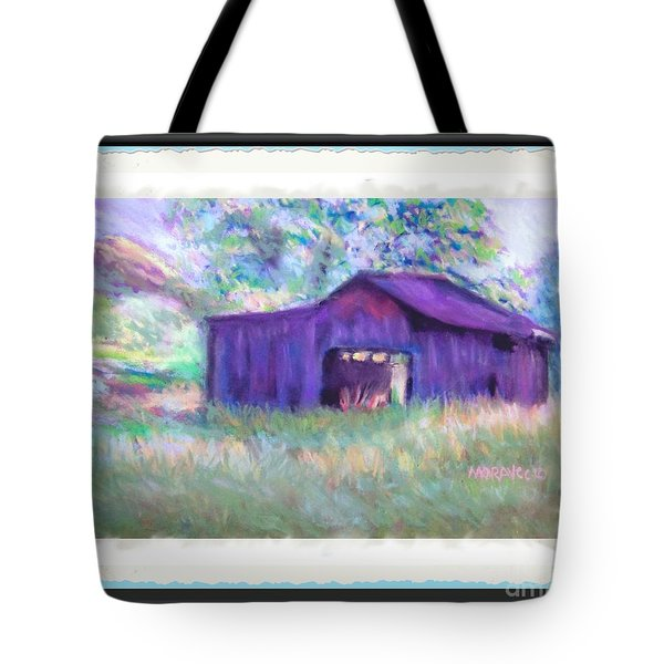 Purple Barn With Frame Tote Bag by Shirley Moravec