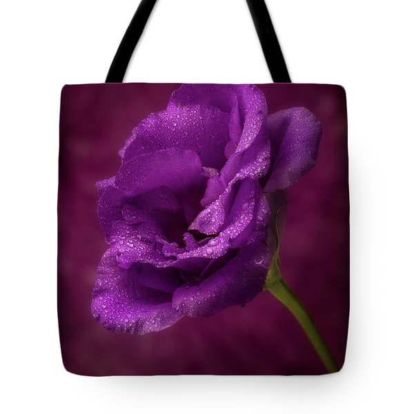 Purple Blossom With Morning Dew Tote Bag