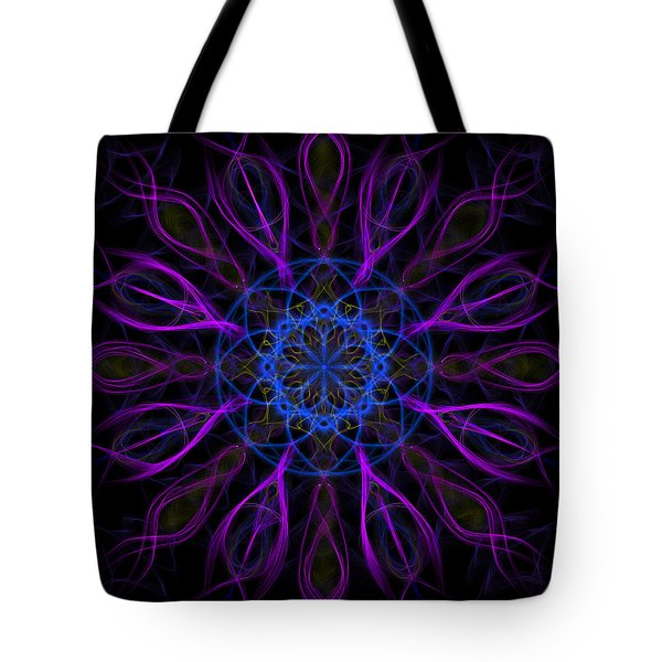 Tote Bag featuring the photograph Purple Blue Kaleidoscope Square by Adam Romanowicz