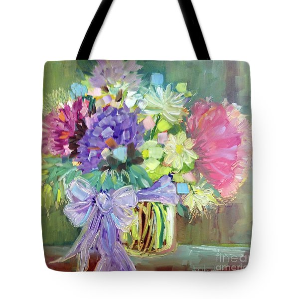 Tote Bag featuring the painting Purple Bow by Rosemary Aubut