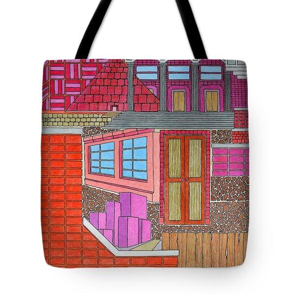 Purple Buildings Tote Bag