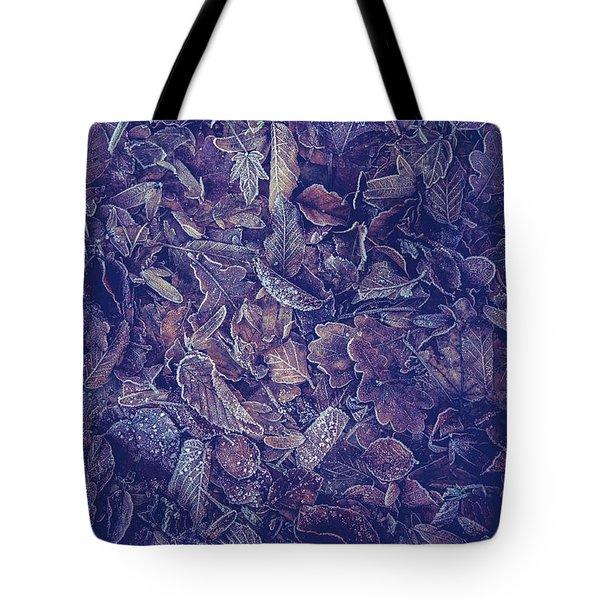 Purple Carpet Of Frozen Leaves Tote Bag