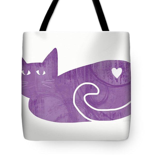 Purple Cat- Art By Linda Woods Tote Bag