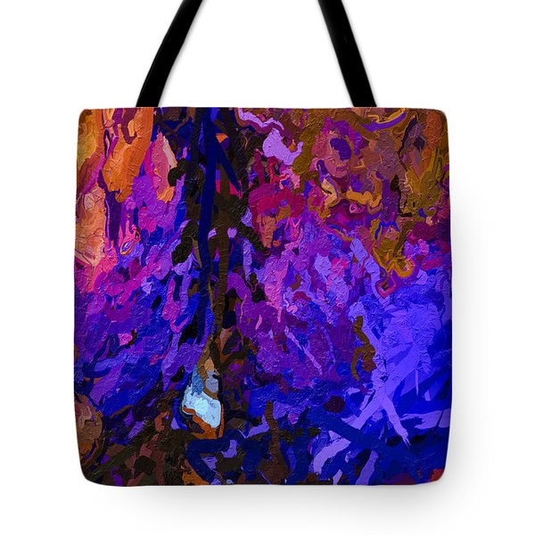 Tote Bag featuring the painting Purple Cave by Joan Reese