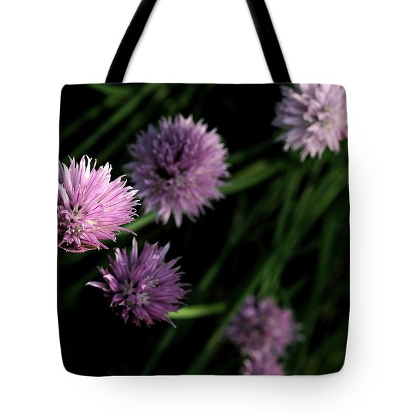 Tote Bag featuring the photograph Purple Chives by Angela Rath