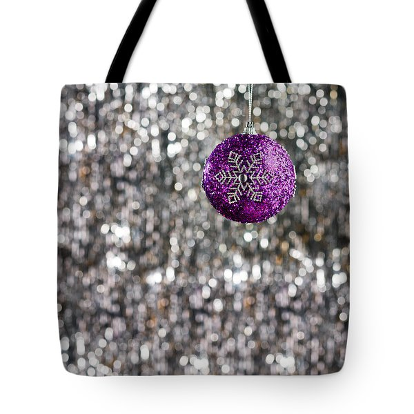 Tote Bag featuring the photograph Purple Christmas Bauble  by Ulrich Schade