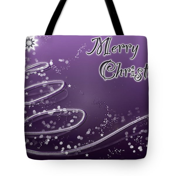 Purple Christmas Card Tote Bag by Lisa Knechtel