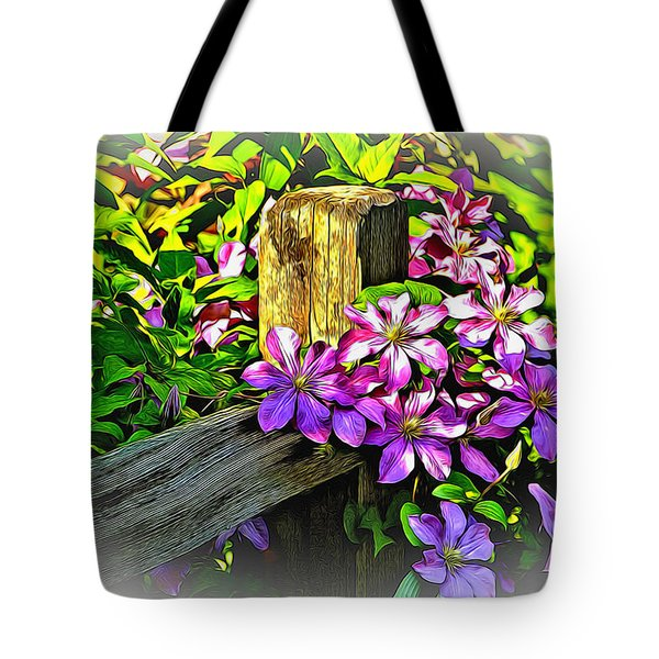 Purple Clematis On Split Rail Fence Tote Bag by Dennis Lundell