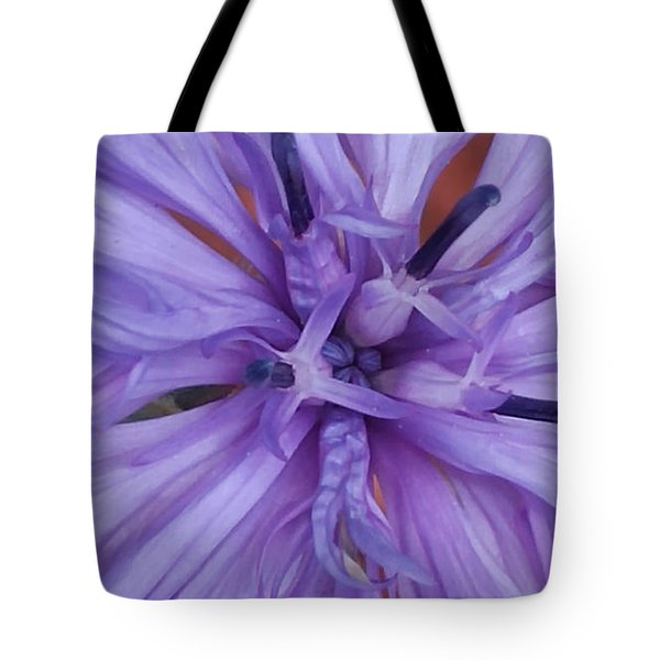 Purple Colorado Wildflower In Macro Tote Bag