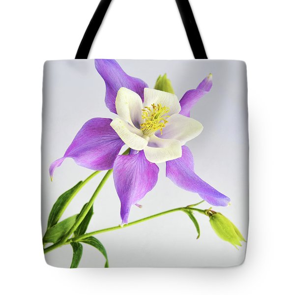 Purple Columbine Tote Bag by Ann Bridges