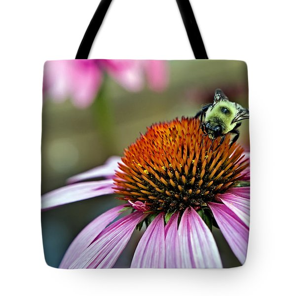 Purple Cone Flower And Bee Tote Bag