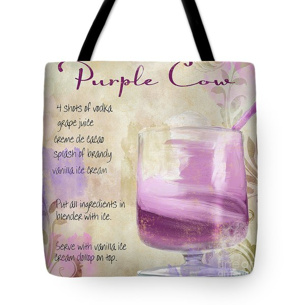 Purple Cow Mixed Cocktail Recipe Sign Tote Bag