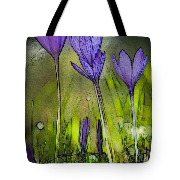 Tote Bag featuring the photograph Purple Crocus Flowers by Jean Bernard Roussilhe