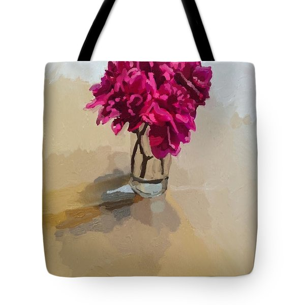 Purple Dahlias Tote Bag by Melissa Abbott