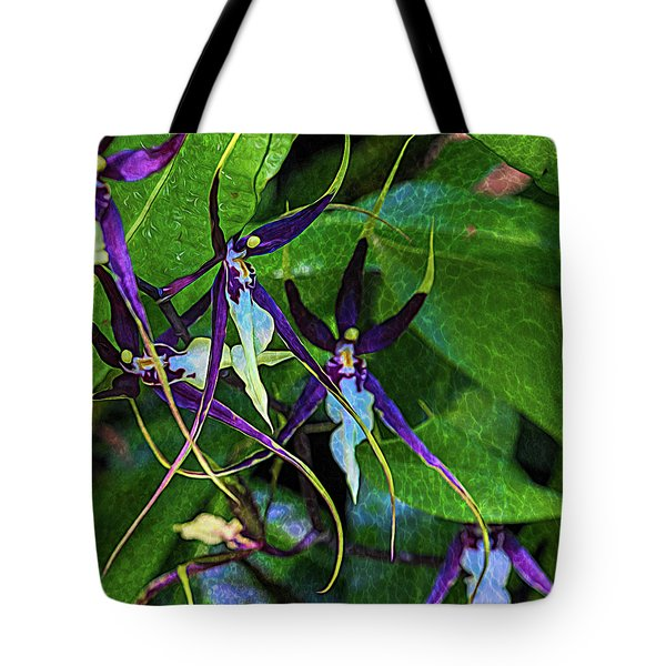 Tote Bag featuring the photograph Purple Dancers by Richard Goldman