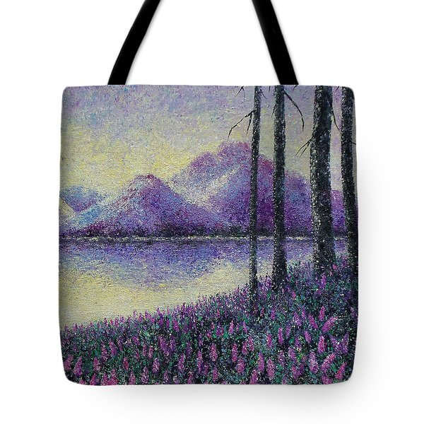 Tote Bag featuring the painting Purple Daze by Susan DeLain