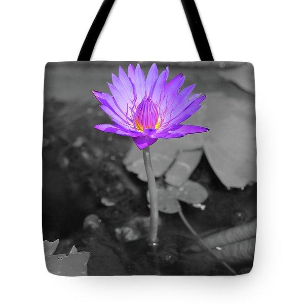 Purple Enlightened Lotus Tote Bag