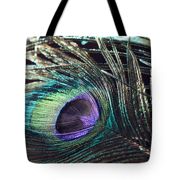 Purple Feather With Dark Background Tote Bag