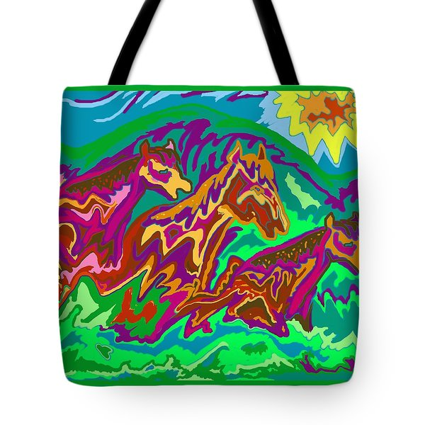 Purple Feathered Horses Tote Bag