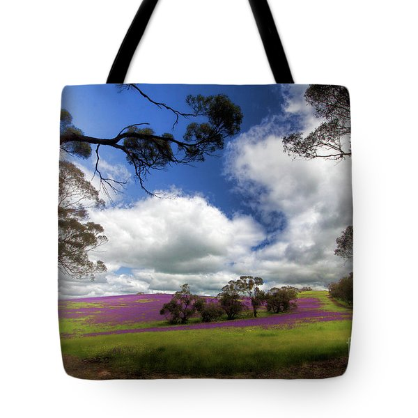 Tote Bag featuring the photograph Purple Fields by Douglas Barnard