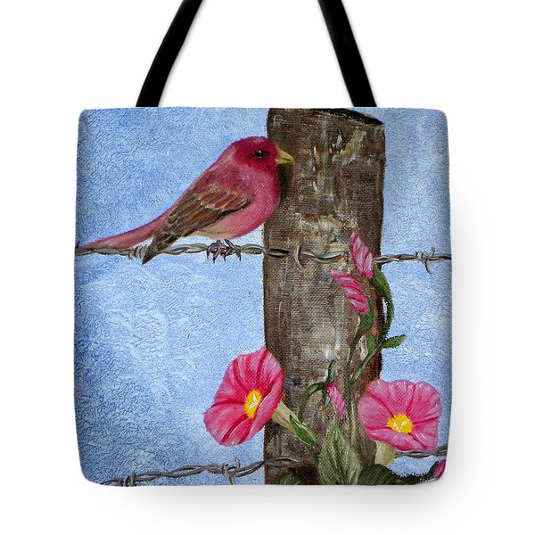 Tote Bag featuring the painting Purple Finch And Morning Glories by Terri Mills