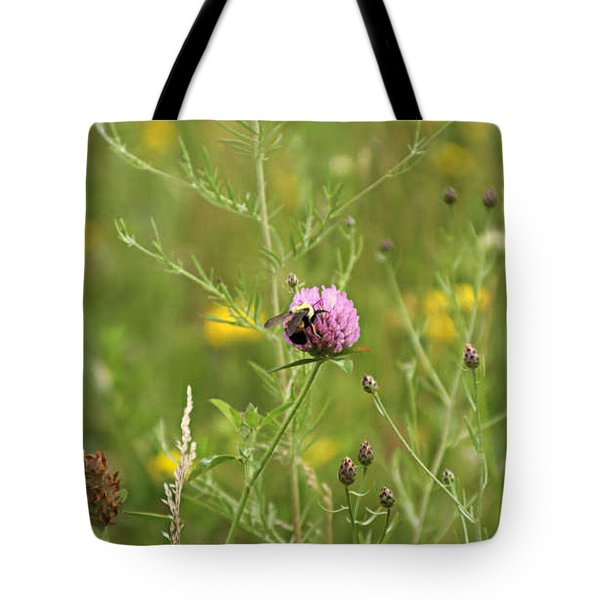 Purple Flower And Bee Tote Bag