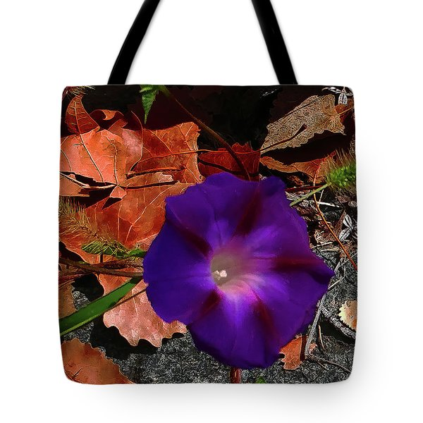 Purple Flower Autumn Leaves Tote Bag