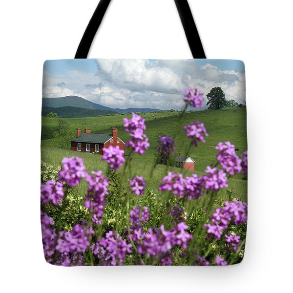 Purple Flower In Landscape Tote Bag