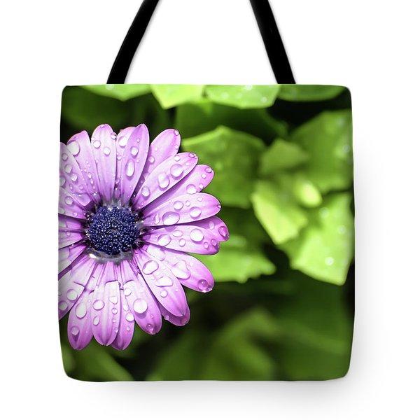 Purple Flower On Green Tote Bag