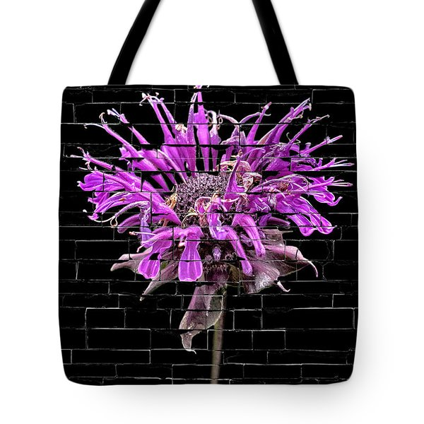 Purple Flower Under Bricks Tote Bag