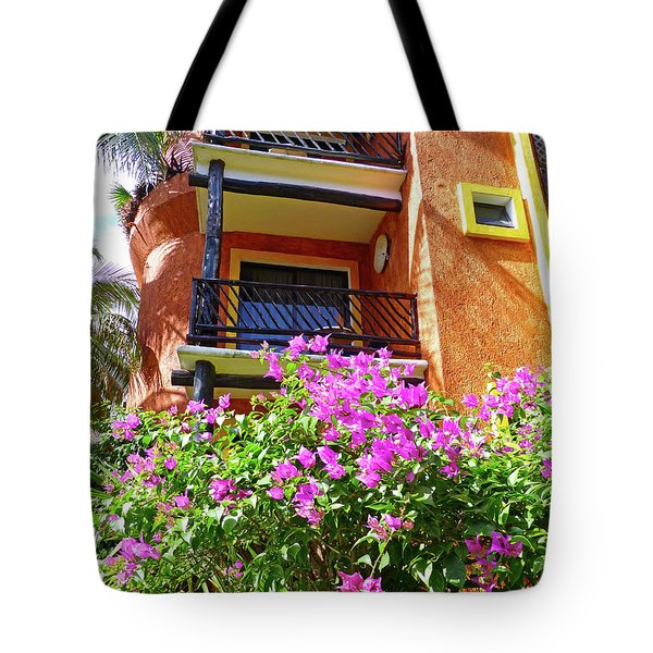 Tote Bag featuring the photograph Purple Flowers By The Balcony by Francesca Mackenney