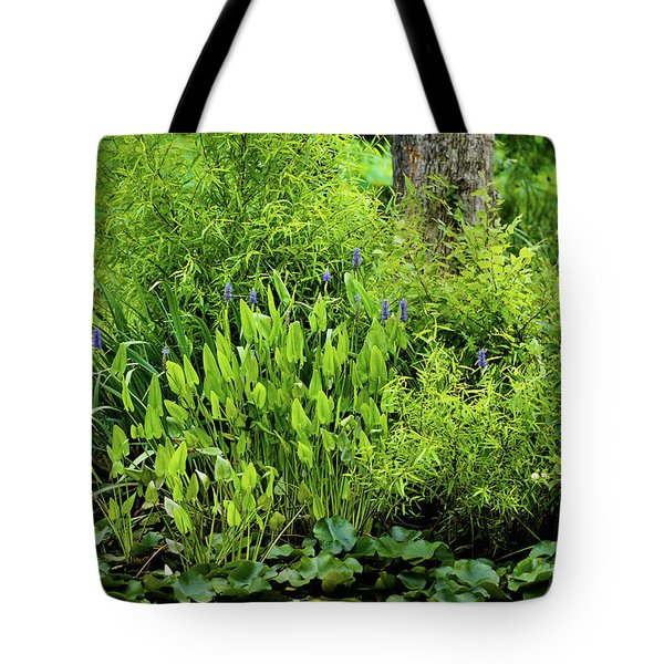Tote Bag featuring the photograph Purple Flowers By The Ponds Edge by Dennis Dame