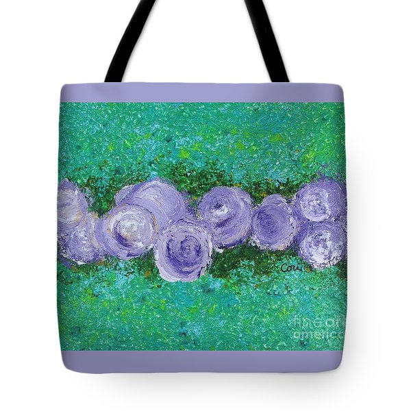Tote Bag featuring the painting Purple Flowers by Corinne Carroll