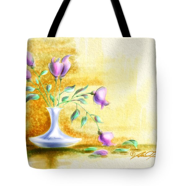 Purple Flowers In Vase Tote Bag