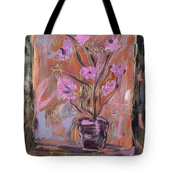 Purple Flowers In Vase Tote Bag