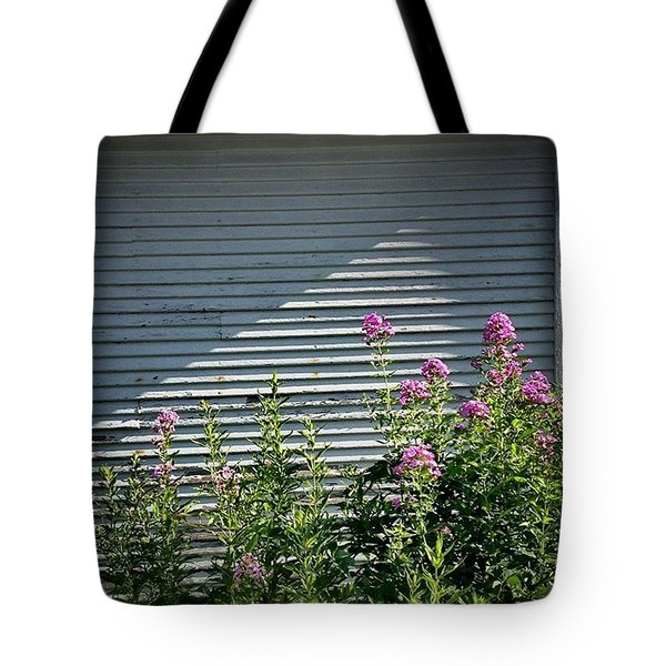 Purple Flowers. White Wall.  Tote Bag