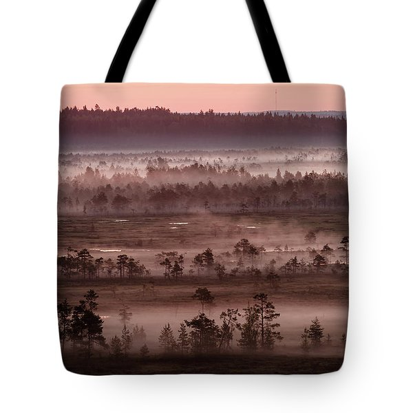 Purple Fog On Swamp Tote Bag by Teemu Tretjakov