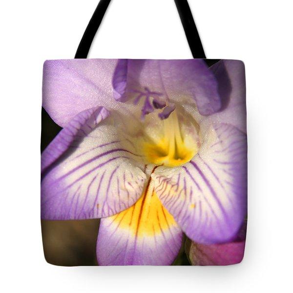 Purple Fresia Flower Tote Bag