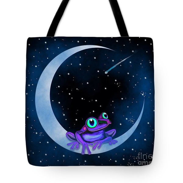 Tote Bag featuring the painting Purple Frog On A Crescent Moon by Nick Gustafson