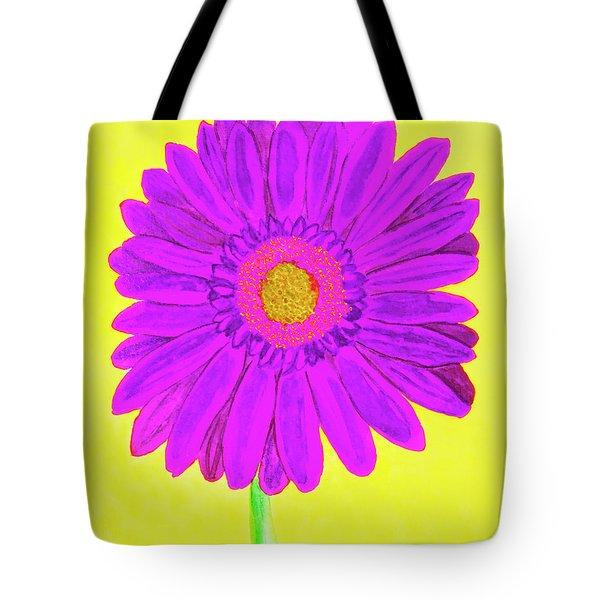 Purple  Gerbera On Yellow, Watercolor Tote Bag