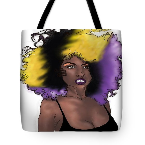 Tote Bag featuring the digital art Purple Girl by Jayvon Thomas