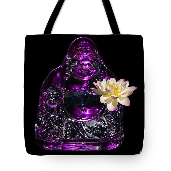Purple Glass Buddah With Yellow Lotus Flower Tote Bag